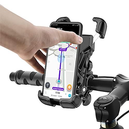 Tryone Soporte Movil Bicicleta,Soporte Moto - Anti Vibración Soporte Movil Moto Bicicleta con 360° Rotación para iPhone 12, 11 Pro, Xs Max, X, 8, 7, 6S, Samsung S10 S9 S8, y Otros Móviles de 4.7 -6.8