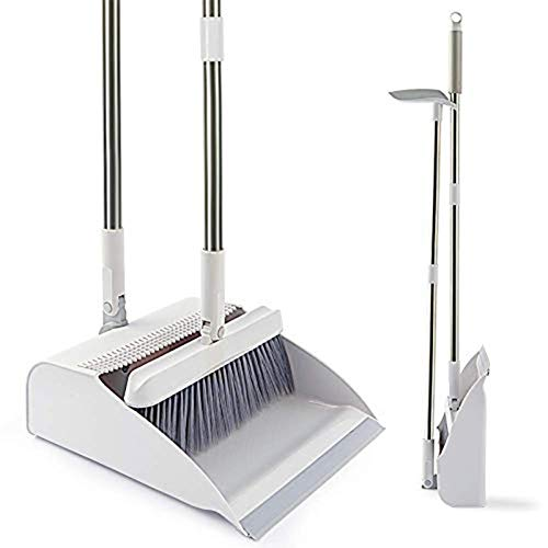 PONKING Broom and Dustpan Set, Self-Cleaning with Dustpan Teeth, 3 Layers Bristles, Upright Standing for Garden, Home, Office, Kitchen, Lobby, White
