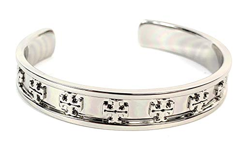 Tory Burch Raised Logo Cuff Bracelet Silver Plated