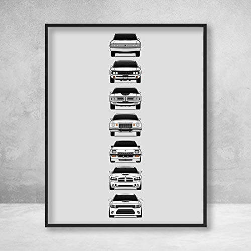 Poster Inspired by Dodge Charger Generations Poster Print Wall Art of the History and Evolution of the Dodge Charger