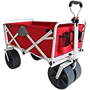 MacSports Heavy Duty Collapsible Folding All Terrain Beach Wagon, Red and Grey
