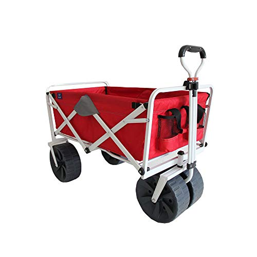 Mac Sports Heavy Duty Steel Frame Collapsible Folding 150 Pound Capacity Outdoor Beach Garden Utility Wagon Cart with 4 All Terrain Wheels, Red/Grey