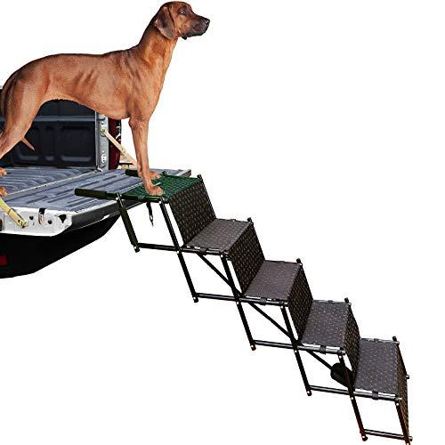 Escaleras de perro mejoradas sin marca, marco de metal plegable para perro, escalón de escalera portátil ligera para mascotas, para coches, SUV y cama alta, 5 pasos