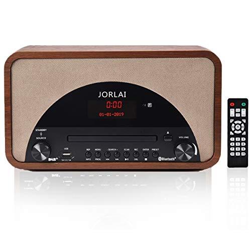Radio Internet JORLAI Radio Digitale DAB+ Lettore CD Compatibile con MP3 Funzione Incisione da Bluetooth a USB/MP3 Legno