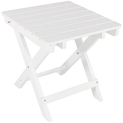 Sunnydaze All-Weather Folding Patio Side Table, Faux Wood Design, White