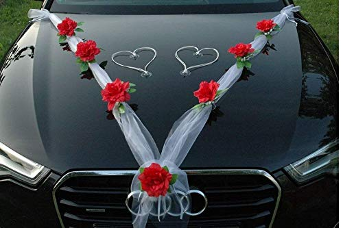 Organza roja decoración para el coche   Kit de decoración de boda   Boda coche lazos y lazos   Decoración de boda coche recién casado   Decoración de flores para boda