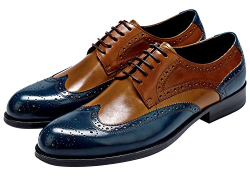 Mens Wingtip Oxford Shoes, Mens Leather Dress Shoes, Brogue Formal Shoes for Men, Lace-up Derbies Shoes Blue-Brown 10.5 US