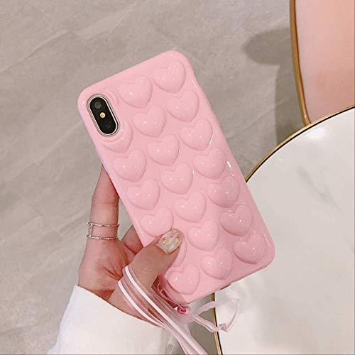 LIMITED 3D Love Heart Phone Case für iPhone 11 Pro X Xs Max Xr Cartoon-Hüllen für iPhone 7 8 6 6s Plus Soft TPU Cover mit Lanyard für iPhone 11Pro Max Pink