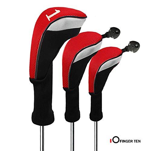 FINGER TEN Golf Headcover Schlägerhaube Holzkopfhüllen Woods Driver Fairway Hybrid 3 Pack Langer Hals 1 3 5 7 X Mit Austauschbar Nummer Etikett 460CC Für Herren Damen (Rot)