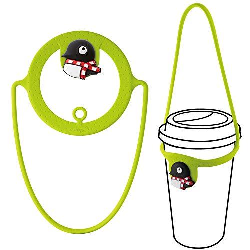 Geschickter Tragbarer Getränkehalter, Umweltfreundliche Wasserflasche Träger, Halterung für Becher für Tee Kaffee zum Mitnehmen, Becherträger Passend für Shopping Unterwegs - Maru Pinguin