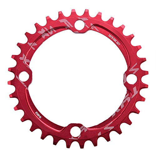Alomejor Fahrrad Kettenblatt 32/34/36/38T BCD 104mm Stahl Einzel Kurbelkette Ring Ersatzteile für Mountainbike(34T-Rot)
