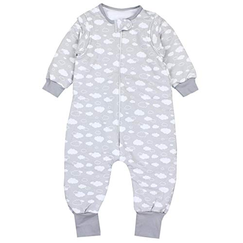 TupTam Baby Unisex Schlafsack mit Beinen und Ärmel Winter, Farbe: Wolken Grau, Größe: 92-98