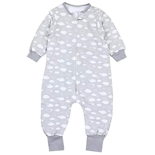 TupTam Baby Unisex Schlafsack mit Beinen und Ärmel Winter, Farbe: Wolken Grau, Größe: 80-86