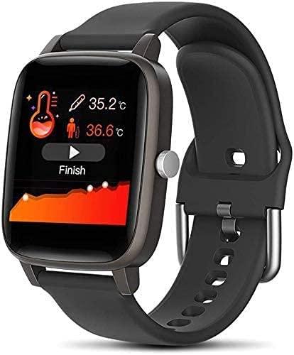 LLDKA Reloj Conectado, Reloj Inteligente, Reloj de Pulsera de Actividad conectada Mujeres y Hombres con termómetro Tracker Actividad Presión Arterial,Negro