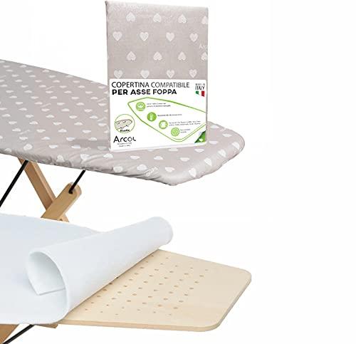 ARCOL Funda de goma con muletón de repuesto compatible para tabla de planchar Foppapedretti Made in Italy, funda para tabla de planchar 100% algodón (beige corazones blancos)