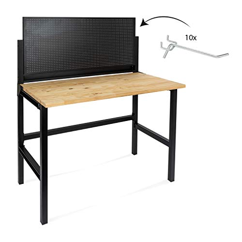 rikta Klappbare Werkbank | Klappbarer Werktisch | Freistehend | ca. 121,5 x 64,6 x 142,0 cm (BxTxH) | Belastbarkeit 150 kg | FSC Holz-Arbeitsplatte