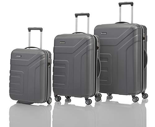 travelite 4-Rad Koffer Set Größen L/M/S mit TSA Schloss, Handgepäck erfüllt IATA Borgepäck Maß, Gepäck Serie VECTOR: Robuster Hartschalen Trolley in stylischen Farben, 072040-04, anthrazit (grau)