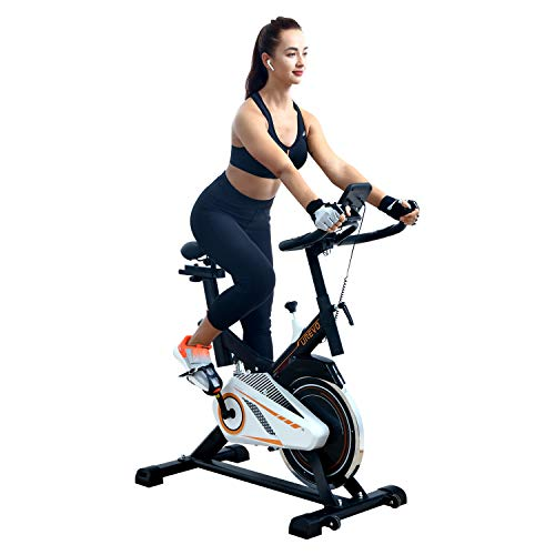 UREVO Indoor Exercise Cycling Bike Stationary Cycle Bike 28BLS with Comfortable Seat Cushion and Floor Mat (Black) Best Selling