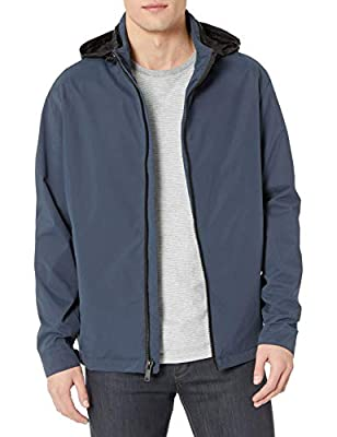 DKNY Men's All Man's Stand Collar Water Resistant Jacket, Navy, Medium by DKNY