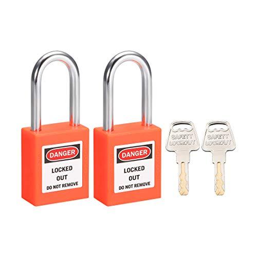 uxcell Lockout Tagout Safety Padlock 1-1/2-Inch Steel Shackle Keyed Alike Orange 2Pcs