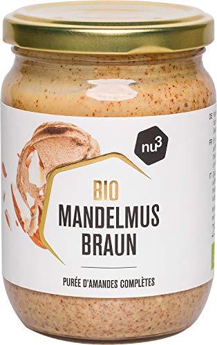nu3 Purée d'amandes Brunes Bio Vegan 250g - Amandes complètes d'Espagne et d'Italie - Idéal comme matière grasse saine et source de protéine végétale - Alternative sans gluten à la pâte à tartiner