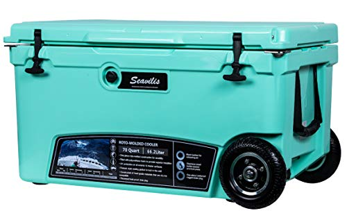MILEE--Heavy Duty Wheeled Cooler 70QT (Sea Foam Green) ($50.0 Accessories Included) with Free Divider,Basket and Cup Holder