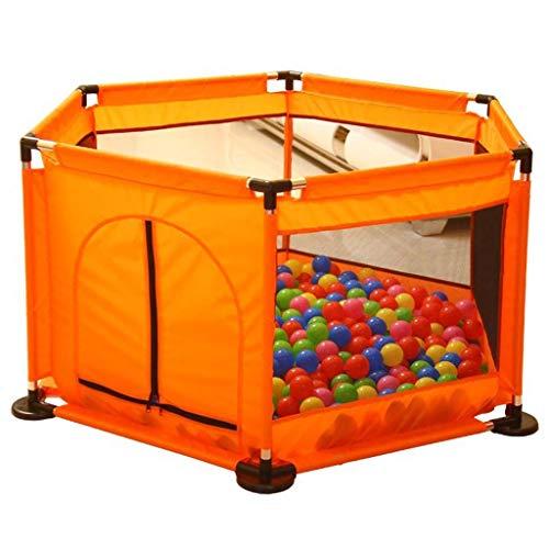 LHSUNTA Laufgitter Baby Zaun Baby Laufstall Kleinkind Bällebad Kinder Stoffzelt (Sechseckig, Orange)