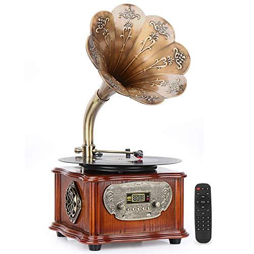 Plattenspieler Grammophon Tonograph Retro-Plattenspieler mit drahtlosem Bluetooth 4.0-Lautsprecher, Kupferhorn, 3,5-mm-AUX-Eingang/USB/FM, tolles Sammlungsgeschenk für Familie und Freunde