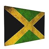 Impresiones de arte de pared,Bandera de Jamaica vintage, Pintura moderna enmarcada óleo sobre lienzo para sala de estar dormitorio principal Decoración 18x12 pulgadas