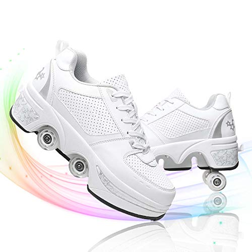 TAOXUE Deformation Roller Shoes Mujer Retráctil Patín con ruedas de doble fila para adultos y niños zapatos de patinaje automático
