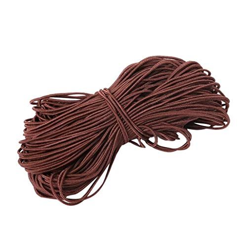 1mm Thin Fine Round Elastic Stretch Bungee Shock Cord Length 25 Yards (Coffee)