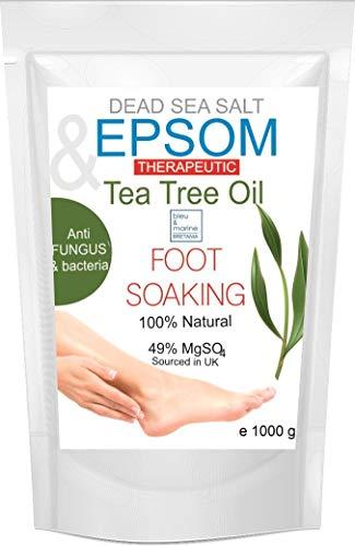 Teebaumöl, Pfefferminzöl Fußbad mit Bittersalz & Totes Meer Salz 1000g ● Epsom Salz Baden Nagelpilz ● Apothekenqualität für Ihre Gesundheit