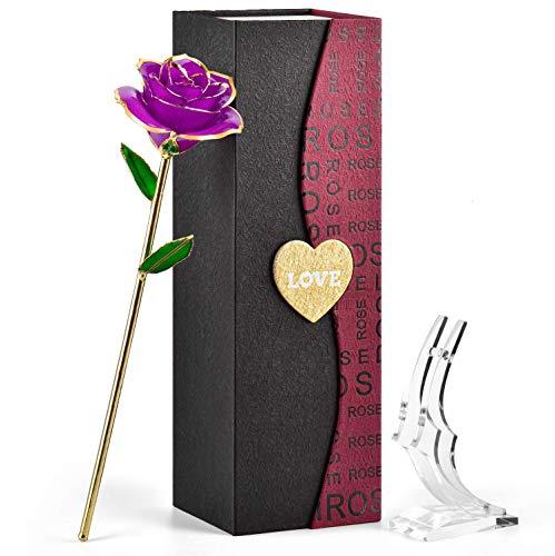 Geburtstagsgeschenk für Frauen Oma, Goldene Ewige Rose, Hochzeitstag Jahrestag Geschenk, Mädchen Geschenke Weihnachten, Geschenk Valentinstag für Sie Freundin, Geschenke Mama Muttertags (Violett)