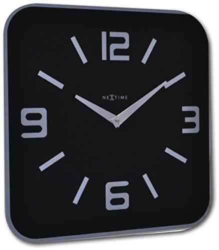 """NeXtime Grand Reloj de pared """"SHOKO"""", muy silencioso, negro ,cuadrado, 43 x 43 cm"""