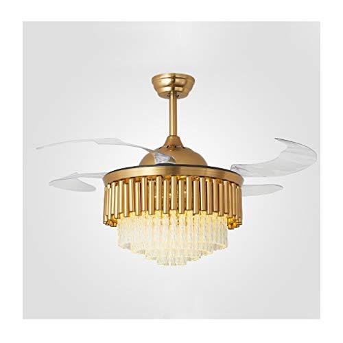 Ventiladores para el techo con lámpara Ventilador de techo retráctil de 42 pulgadas con el cristal, luz regulable LED y control remoto luz del ventilador, for la sala de estar Dormitorio Ventilador te