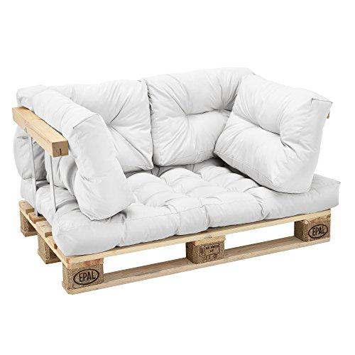 [en.casa] Set de 5 Cojines para sofá-palé - cojín de Asiento + Cojines de...