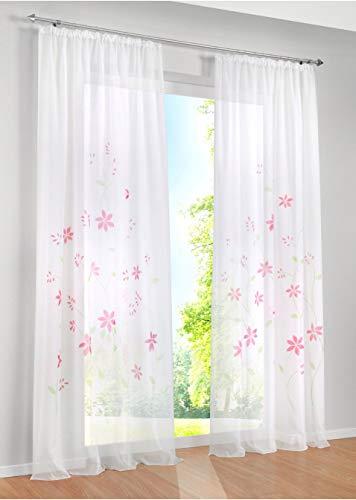 KOU-DECO Voile Gardinen con fruncido transparente cortina en rosa flores Gardinenschals para Wohn-, Schlaf- y Kinderzimmer, BxH 150x245 cm