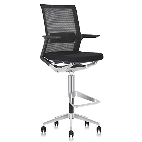 MOOJIRS Ergonomic Drafting Chair | with Adjustable Seat Height and Foot Rest | Breathable Mesh Fabric | All Aluminum Alloy Base with Multi-Direction Casters | for Standing Desk