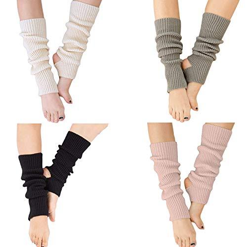 YUANQIAN Calentadores de piernas de punto para mujer, extra suaves sobre la rodilla, sin pies, para yoga, ballet, danza (negro, blanco, gris, rosa, 4 pares)