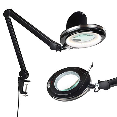 Brightech LightView PRO - LED Magnifying Glass Desk Lamp for Close Work - Bright, Lighted Magnifier for Reading, Crafts & Pro Tasks - Light Color Adjustable & Dimmable 1.75x (Black)