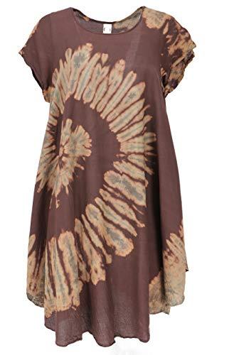 GURU SHOP Batik Tunika, Midikleid, Strandkleid, Kurzarm Sommerkleid für Starke Frauen, Damen, Braun, Synthetisch, Size:40, Lange & Midi-Kleider...