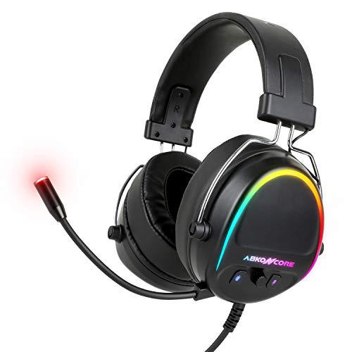 ABKONCORE B700M Virtual 7.1 Surround Sound Card & 3.5mm RGB Gaming Headset with Adjustable Noise Cancelling Mic & Multi Compatibility PS4, PC, Xbox one, Nintendo Switch, Tablet, Mobile