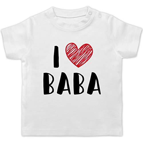 Bunt gemischt Baby - I Love Baba - 1/3 Monate - Weiß - Baby Shorts weiß - BZ02 - Baby T-Shirt Kurzarm