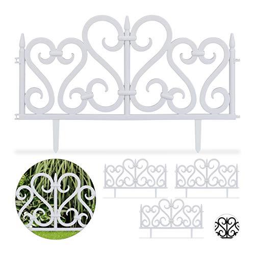 Relaxdays 4-teiliger Beetzaun, dekorativer Steckzaun für Garten, aus Kunststoff, mit Ornament, Erdspieße, H: 28 cm, weiß