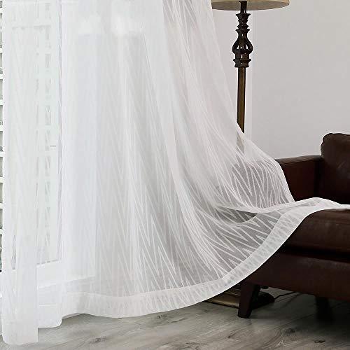PENVEAT Moderne Mode weiße Farbe Burnout Tüll Gardine für Schlafzimmer oder Wohnzimmer Fenster, 4 Zinke Haken, W400CM x L250CM
