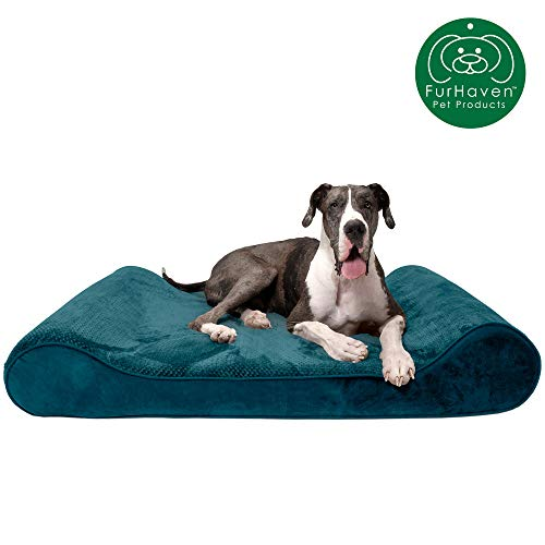 Furhaven Pet Dog Bed | Orthopedic Minky Plush & Velvet Ergonomic Luxe Lounger Cradle Mattress Contour Pet Bed w/ Removable Cover for Dogs & Cats, Spruce Blue, Giant