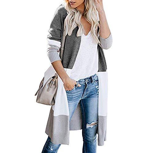 Uni-Wert Cárdigan Mujer Largo Chaqueta de Punto Rayas Jersey de Suelta Punto con Frente Abierto Rebecas Abrigo Otoño Invierno Cardigan Suéter