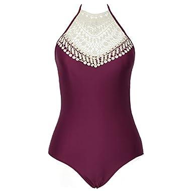 CUPSHE Fashion Women's Crochet Halter Padding One Piece Swimsuit, Burgundy (XL)