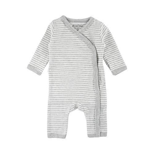 FIXONI LITTLE BEE Dors-bien pour prématuré à rayures bébé grenouillère, 01-82 Light Grey Melange