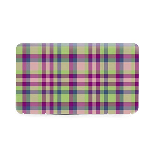 Tartan Plaid in Moss Green Fuchsia Mauve Blue Portable Reusable Mask Storage Box Plastic Case Dust-Proof Light Mask Keeper Holder Container 7.5x4.3 inch